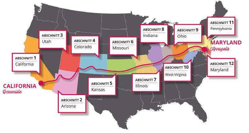 Ulms Kleine Spatzen –Race Across America –Karte, Streckenabschnitt kaufen